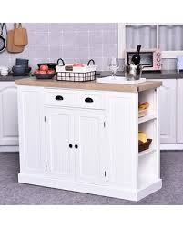 homcom 71 wood kitchen pantry storage cabinet aosom homcom fluted style wooden kitchen island storage cabinet with drawer open shelving and interior shelving white from overstock bhg