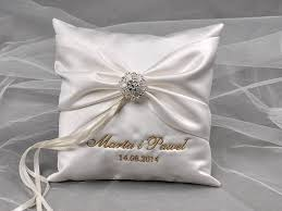 ribbon with names lace wedding pillow ring bearer pillow embroidery names