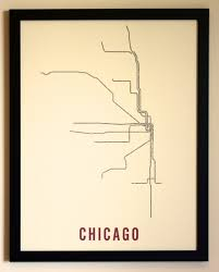 L Chicago Map by Chicago Typographic Transit Map Poster