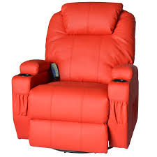 homcom massage heated pu leather 360 degree swivel recliner chair