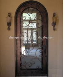 sz 125 arch top wrought iron single entry door with operable glass