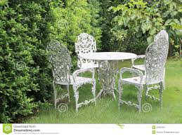 Metal Garden Furniture White Metal Garden Furniture Table Two Chairs Stock Photos Images