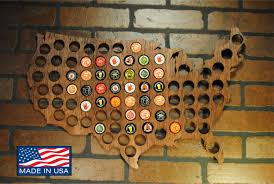 Beer Map Usa Beer Cap Map Stained Country Outline Walnut Mahogany Ebony