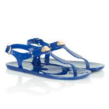 michael kors blue logo plate jelly women u0027s sandal at rojo