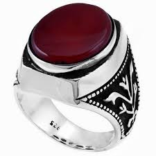 mens stone rings images Agate stone mens ring in 925s silver jpg