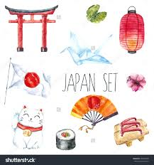 stock vector watercolor set of japan hand draw japanese design