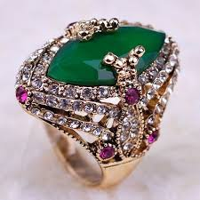 antique gold rings images Blucome brand green resin turkish rings anniversary jewelry jpg