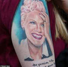 pink beams as she meets fan with portrait tattoo in london daily