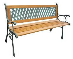3 seater wooden slat garden bench seat lattice style cast iron