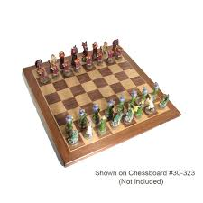 Wooden Chess Set by Hand Painted Fantasy Adventure Polystone Chess Pieces