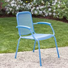 Stackable Mesh Patio Chairs by Royal Garden Milo Metal Mesh Stacking Arm Chair Blue 2 Pack