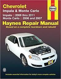 car manuals free online 2007 chevrolet impala instrument cluster chevy monte carlo impala 06 11 monte carlo 06 07 haynes repair