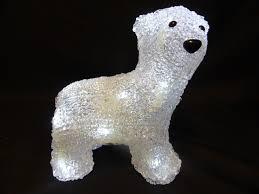 Large Polar Bear Christmas Decorations by 19cm Indoor Light Up Acrylic Polar Bear With 16 Led Lights