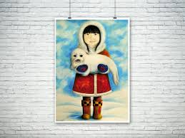 inuit art print and baby seal illustration art