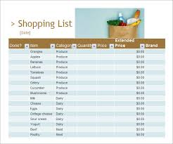 Shopping List Template Excel Sle Shopping List Template 7 Free Documents In Pdf