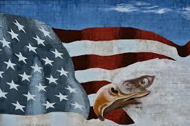 Bald Eagle On Flag American Flag And Bald Eagle Mural In San Diego California