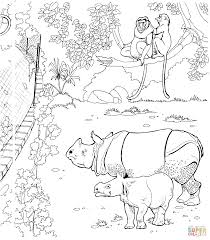 sumatran rhinos and proboscis monkeys in a zoo coloring page