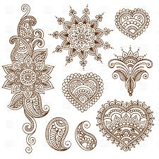 indian ethnic tracery set of mendi style ornaments 28768