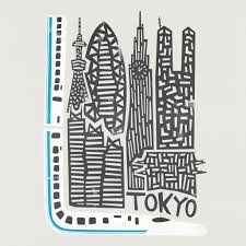 travel art images Tokyo cityscape fox and velvet jpg