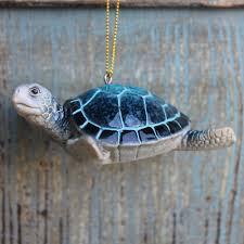 blue sea turtle ornament nautical decor coastal