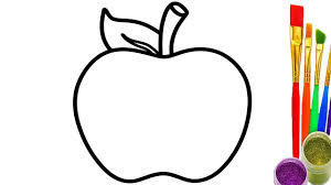 how to draw apple coloring pages for kids learn colors with baby