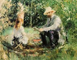 the monet family in their garden at argenteuil julie and eugene manet 1883 berthe morisot wikiart org