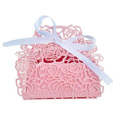 pink favor bags 50pcs laser cut candy boxes with pink ribbon wedding party
