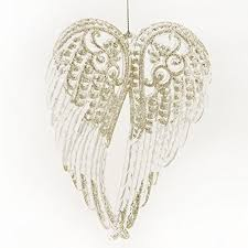 wings silver colored glitter resin hanging