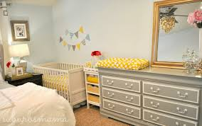 Baby Crib And Dresser Combo by Suburbs Mama Nursery In Master Bedroom