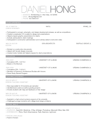 Examples Of Resume For College Students Curriculum Vitae For College Students