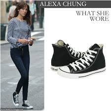 Skinny Jeans And Converse What She Wore Alexa Chung In Black Canvas High Top Converse