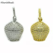 jewelry findings 18x20mm paved cz crown shape metal bead caps loops