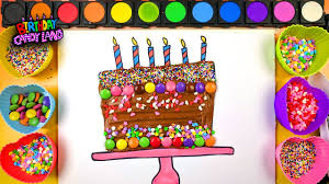 learn to draw and color for kids birthday cake coloring pages 02