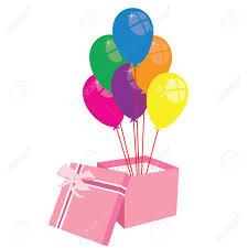 balloons gift box with balloons gift box balloons vector present royalty free