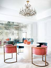 clean cut glamor in a spanish apartment pink velvet dining
