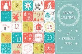 christmas advent calendar numbers illustrations creative market