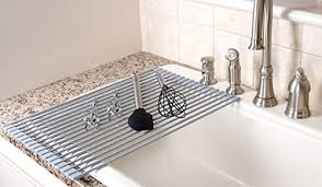 over the sink dish drying rack amazon com chef essential over the sink roll up dish drying rack