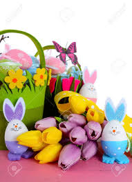 easter egg hunt baskets happy easter egg hunt baskets with tulip flowers and eggs with