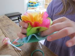 Frugal Flowers - how to make lollipop tissue paper flowers