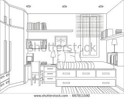 outline drawing interior students room window stock vector