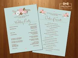 order of wedding program mint floral wedding program printable wedding party names