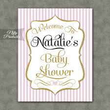 baby shower signs pink gold girl baby shower welcome sign nifty printables