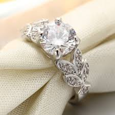 crystal silver rings images Wedding crystal silver color rings leaf engagement gold color jpg