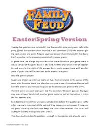 easter spring family feud printable game classroom party