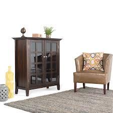 amazon com simpli home acadian medium storage cabinet rich