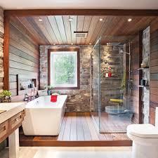 mur deco pierre salle de bain rustique tout de pierre et de bois salle de bain