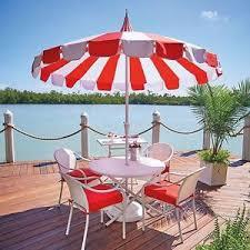 8 Patio Umbrella 8 Foot White Cabana Stripe Patio Umbrella Outdoor Shade Retro
