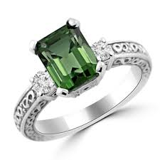 vintage emerald cut engagement rings emerald cut green tourmaline diamond engagement ring antique style