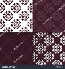 set maroon floral ornaments seamless patterns stock vector