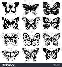 set twelve black butterfly silhouettes on stock vector 158646980
